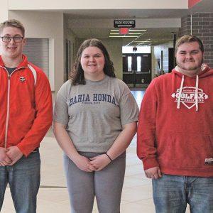 Colfax Powerlifters Austin Schindler, Sydney Herrick, and Chase Aspengren