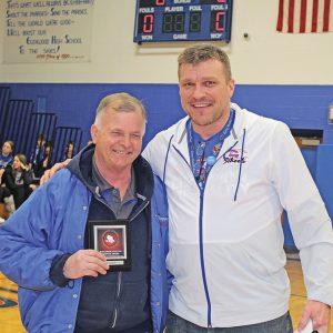 Bob Swanepoel recieves Wisconsin Athletic Directors' Service Award, photo with Patrick Gretzlock