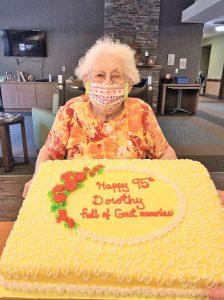 Dorothy Mitch with 95th birthday cake