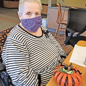Bev Thompson with her jar ring pumpkin. —photo submitted