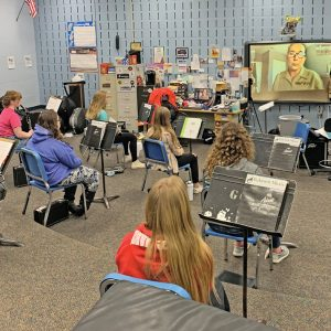 photo of GCHS hosting clinic with US Marine Band musician