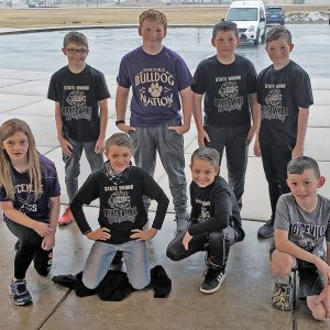 BOYCEVILLE sent a large contingent to compete in the Wisconsin Wrestling Federation's Kids Folkstyle State Wrestling Championships held March 5-7 in Wisconsin Dells. Front row (L to R): Serenity Miller, Evan Johnson, Logan Hopkins, and Easton Retz. Back row (L to R): Treylyn Heinz, Owen Tuttle, Cole Retz, and Lexton Benitz. Not pictured is Ramon Stanford. —photo submitted