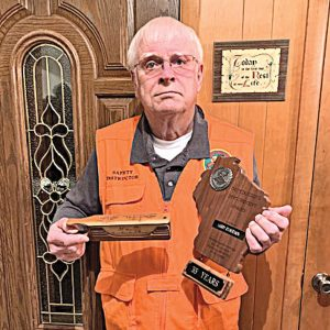 Bud Gilbertson recognized by DNR for 35 years Hunter Education