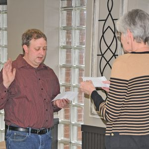 Lukas Montgomery swearing in as new village president for Village of Boyceville