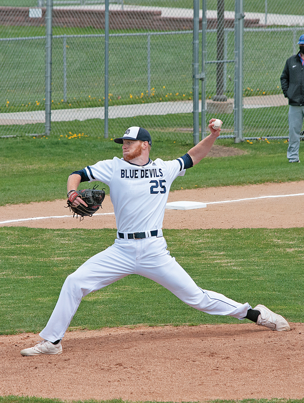 HISTORY MAKER — James Palmer (above), UW-Stout senior pitcher and Boyceville graduate, recently became the first Stout baseball player in history to record a complete-game no-hitter during agame against UW-Platteville. —photo courtesy of UW-Stout Sports Information