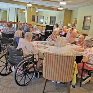 BINGO! - Residents at Glenhaven enjoy a few rounds of bingo inside during last week's heatwave. —photo submitted