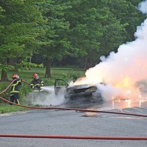 THIS PONATIC WAS DESTROYED by fire on Wednesday, July 21. The car started on fire while Jared Husby was driving it at near the intersection of 130th Avenue and County Highway D in Emerald Township. —photo by Shawn DeWitt