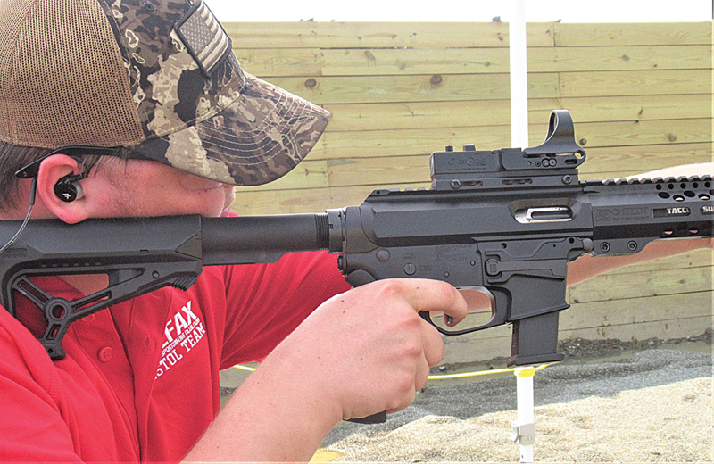 KYLE Weller ran his PCC fast enough and smooth enough to capture second place in the Scholastic Action Shooting Program's National Match, junior varsity pistol caliber carbine competition. —photo submitted