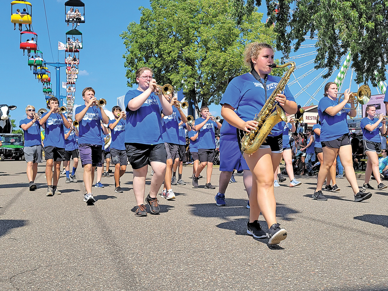 THE GLENWOOD CITY MARCHING HILLTOPPERS performed Sunday in St. Paul at the Minnesota Sate Fair. The picture was taken while they marched on Cosgrove Street near the 4-H building on the fairgrounds. —photo by Michelle Leonard