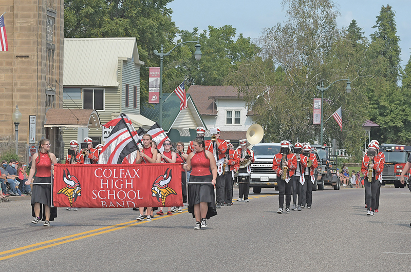 MARCHING BAND — The Colfax High School marching band, at the direction of Derek Westholm, was part of the Colfax Firefighters' Ball parade on September 11. —photo by Shawn DeWitt