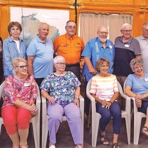 THE GRADUATING CLASS OF 1961 from Boyceville High School celebrated its 60th class reunionAugust 25th in an airplane hangar on the Knapp area farm of Ron and Mary Purvis. Front row (L to R): Roberta (Lentz) Cochrane, Mary Ellen (Anderson) McIntyre, Mary (Riek) Lagerstrom, Carla (Suneson) Klingman, Mary (Noland) Gray and Jim Andrews. Back row (L to R): Charlene Pitzrick, JoAnn (Reetz) Klefstad, Pam Nosko, Don Heifner, Ron Purvis, Gary Harnisch, Gary Weber, Jerry Smith and Marlow Solberg. Martha Pakan is not pictured but was at the reunion but left before the photo was taken. —photo submitted