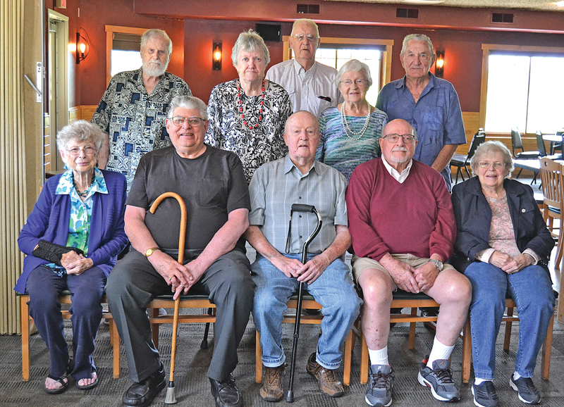CLASS OF 1951 — To celebrate the 70th anniversary of their graduation from Colfax High School, the Class of 1951 met at the Whitetail Golf Course Wednesday, September 8. First row from left: Rosella Harley, Otto Waldbuesser, Bernie Blodgett, Chuck Oliver, Twylia E. Rose. Middle row from left: Joanne Henning and Eldoris Tryggestad Toycen. Third row from left: Ron Peterson, Bud Barum and Don Steinmetz. —photo by LeAnn R. Ralph