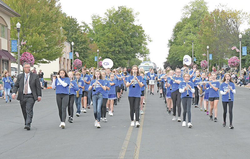 THE GLENWOOD CITY Middle School Marching Band is shown performing during the Rustic Lore Days parade September 12. —photo by Shawn DeWitt