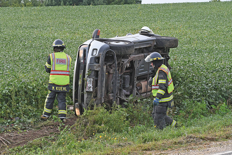 The driver of this car, Alix Rae Nelson, 25, of Clayton was transported by the Glenwood City Ambulance following an accident after she lost control of her vehicle and rolled over into the ditch on State Highway 128 at 152 Avenue in Glenwood Township at 8:52 a.m. Thursday, September 2nd. Nelson passengers, a two-year-old boy and two dogs were not injured in the accident. The Wisconsin State Patrol handled the investigation of the accident and was assisted by the Glenwood City Police, St. Croix County Sheriff's office, Glenwood City Ambulance and Fire. —photo by Shawn DeWitt