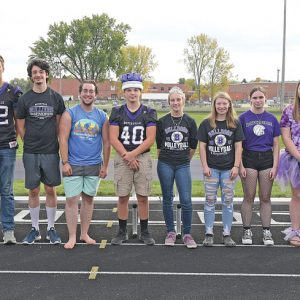 2021 BOYCEVILLE HOMECOMING COURT — This year's homecoming king and queen, Peyton Ponath and Lacota Brown, were chosen at the conlcusion of the Pep Fest Friday afternoon, October 1. The senior homecoming court is pictured above. From left to right are: Ryan Bauer, John Klefstad, Brian Johnson, Luca Pierre, King Peyton Ponath, Queen Lacota Brown, Madison Andrews, Julieanna Banyai, Hailey Webb, and Asha Haase. —photo by Shawn DeWitt