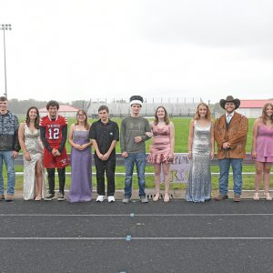 2021 COLFAX HOMECOMING COURT — At the conclusion of Friday afternoon's homecoming activities, the 2021 Colfax Homecoming senior royalty were crowned. Taylor Risler was named king and Emilee Burcham-Scofield was chosen as the queen. Senior homecoming court members, shown from left to right, are: 2020 Queen Liza Johnson, 2020 King Hunter Rebak, Kaitlyn Sarauer, Coltin Lemon, Hope LaHaie, Dylan Holden, 2021 King Taylor Risler, 2021 Queen Emilee Burcham-Scofield, Alana Smith, Thomas Drees, Mariah Smith and Josiah Harder. —photo by Shawn DeWitt