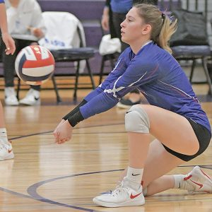 DIVING ATTEMPT — Boyceville senior Ella Holden went to the floor to try and dig the volleyball during her team's October 12 home match against Glenwood City. —photo by Shawn DeWitt