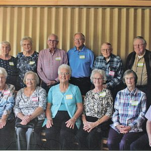 CLASS OF 1952 — The Colfax High School Class of 1952 met on Saturday, September 18, at Whitetail Country Club. Pictured from the left, back row: Virginia Swartz Fjelsted, Leila Moen Stoll, Norman Knutson, Donald Hammer, Carl Thompson, Richard Johnson, James Gehring. Front row from left: Carol Scharlau Stuckert, Faylene Keilholz Howe, Janice Gehring Olson, Betty Nygaard Stoll, Janet Johnson Creaser, Irene Moyer Wulle, Dale Rostamo. Not pictured is LeRoy Lee. —photo submitted