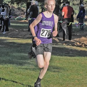 SOPHOMORE Caleb Olson was the second boys runner from Boyceville to finish the Dunn-St. Croix Conference cross country race in Mondovi October 14. Olson placed 33rd after finishing with a time of 21:48.8. —photo by Jacob Maes Photography