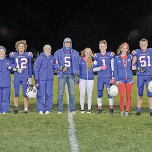 THE SENIOR members of the 2021 Glenwood City Homecoming court were introduced at halftime of the October 15 football game which Glenwood City won 55-0 over Colfax. —photo by Jacob Maes Photography